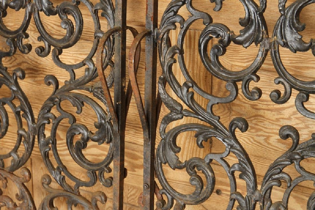 PAIR CAST IRON PEDESTRIAN GATES SWIRL FORM DETAIL - 3