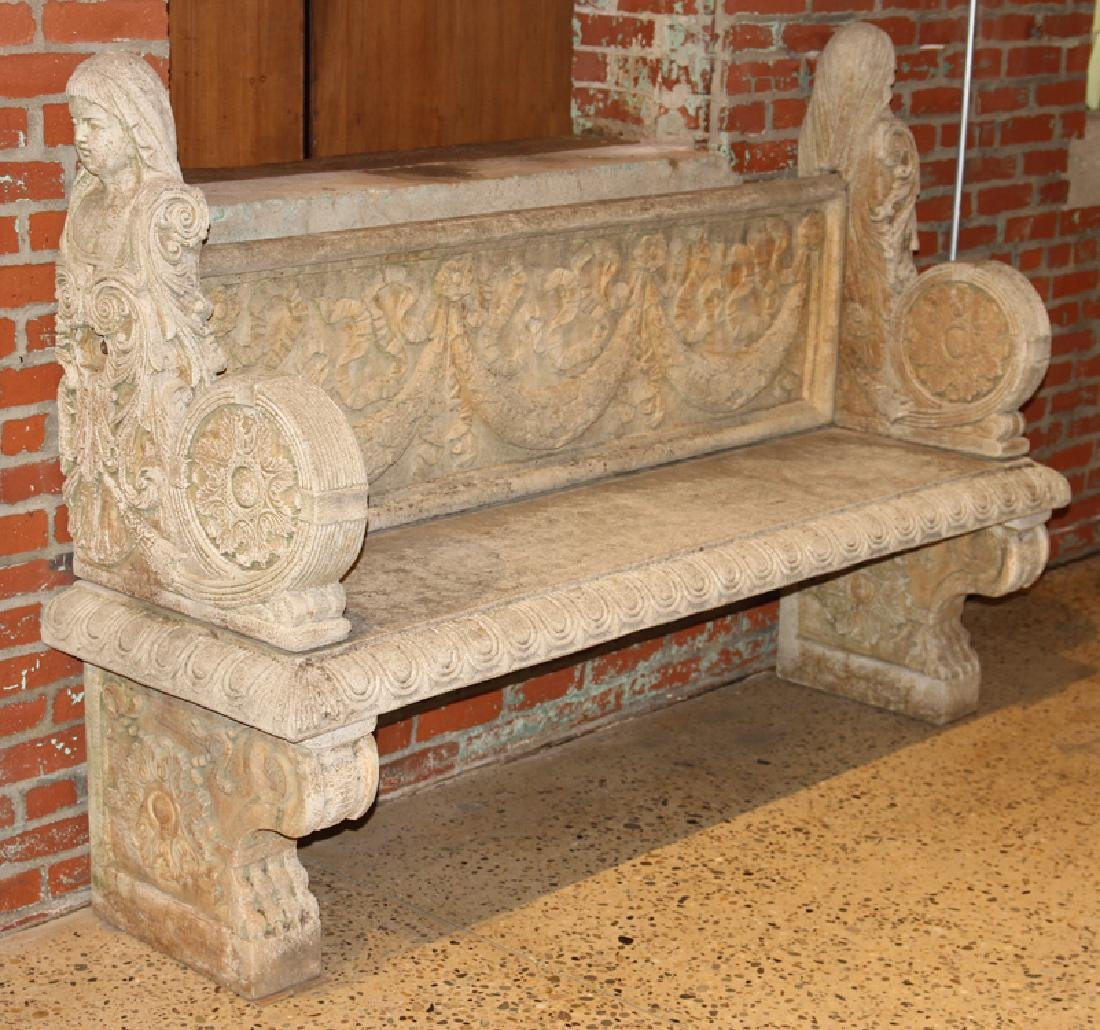 ENGLISH STYLE CAST STONE GARDEN BENCH