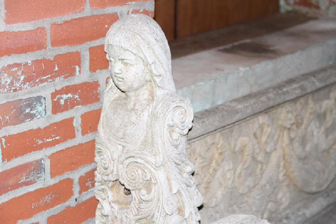 ENGLISH STYLE CAST STONE GARDEN BENCH - 2