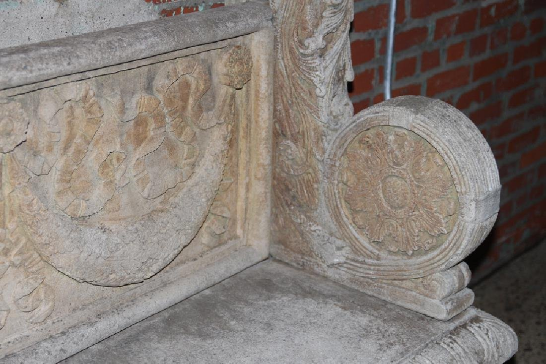 ENGLISH STYLE CAST STONE GARDEN BENCH - 4
