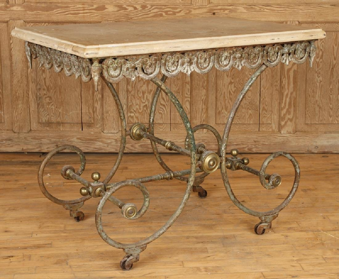 FRENCH MARBLE TOP BUTCHERS TABLE CIRCA 1880
