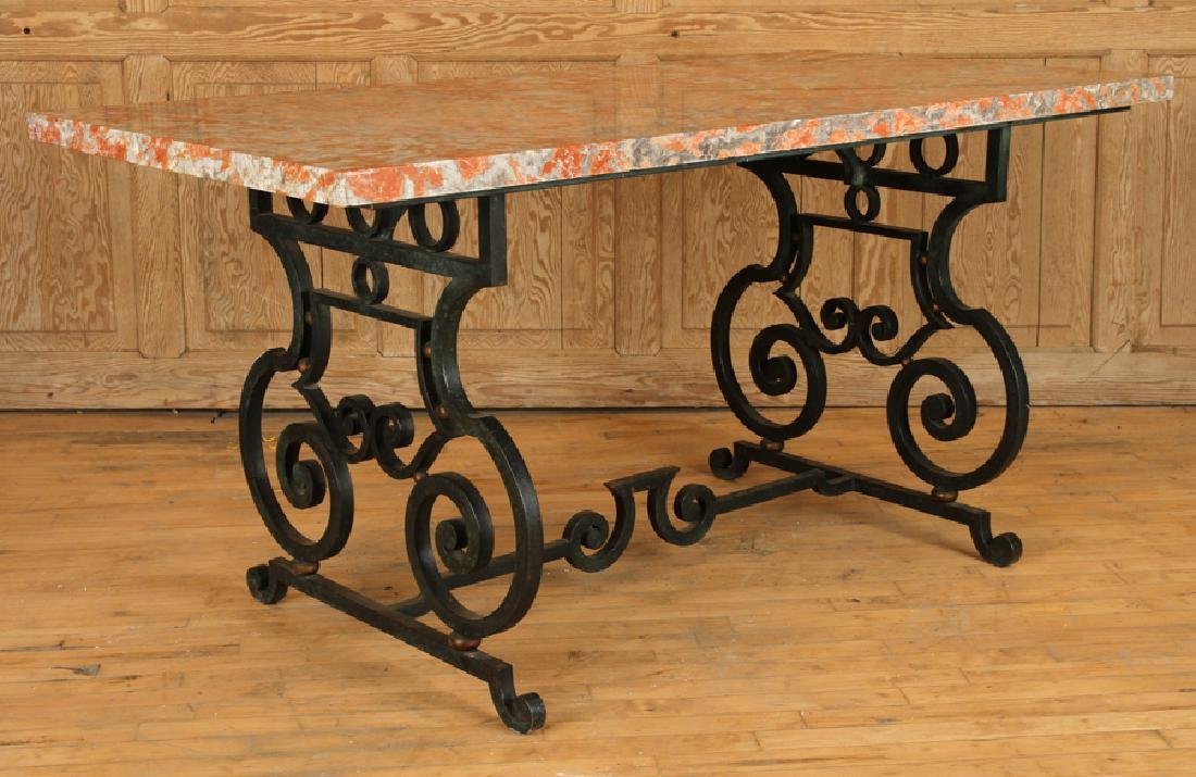 FRENCH WROUGHT IRON TABLE MARBLE TOP CIRCA 1940