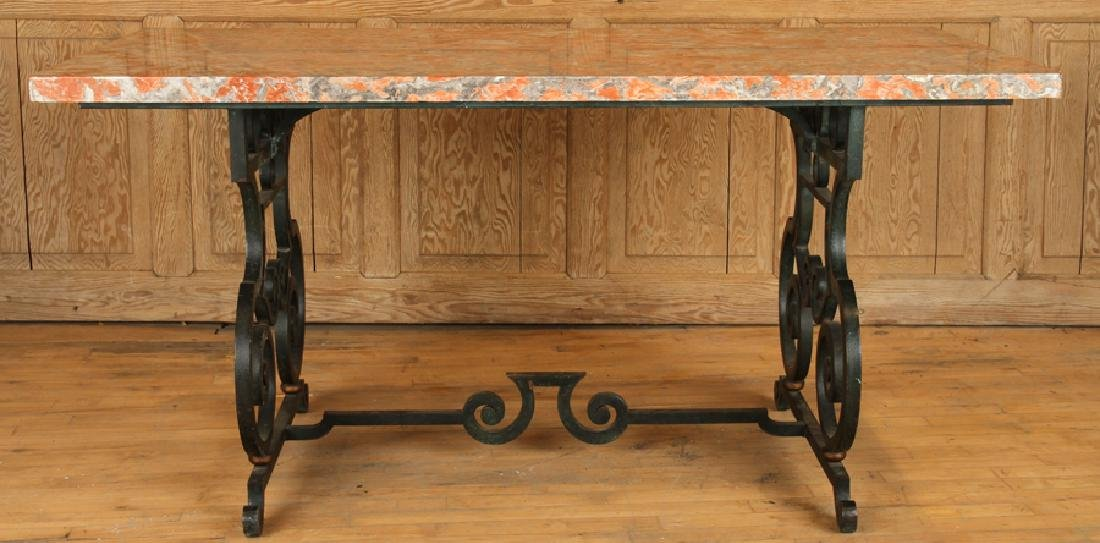 FRENCH WROUGHT IRON TABLE MARBLE TOP CIRCA 1940 - 2