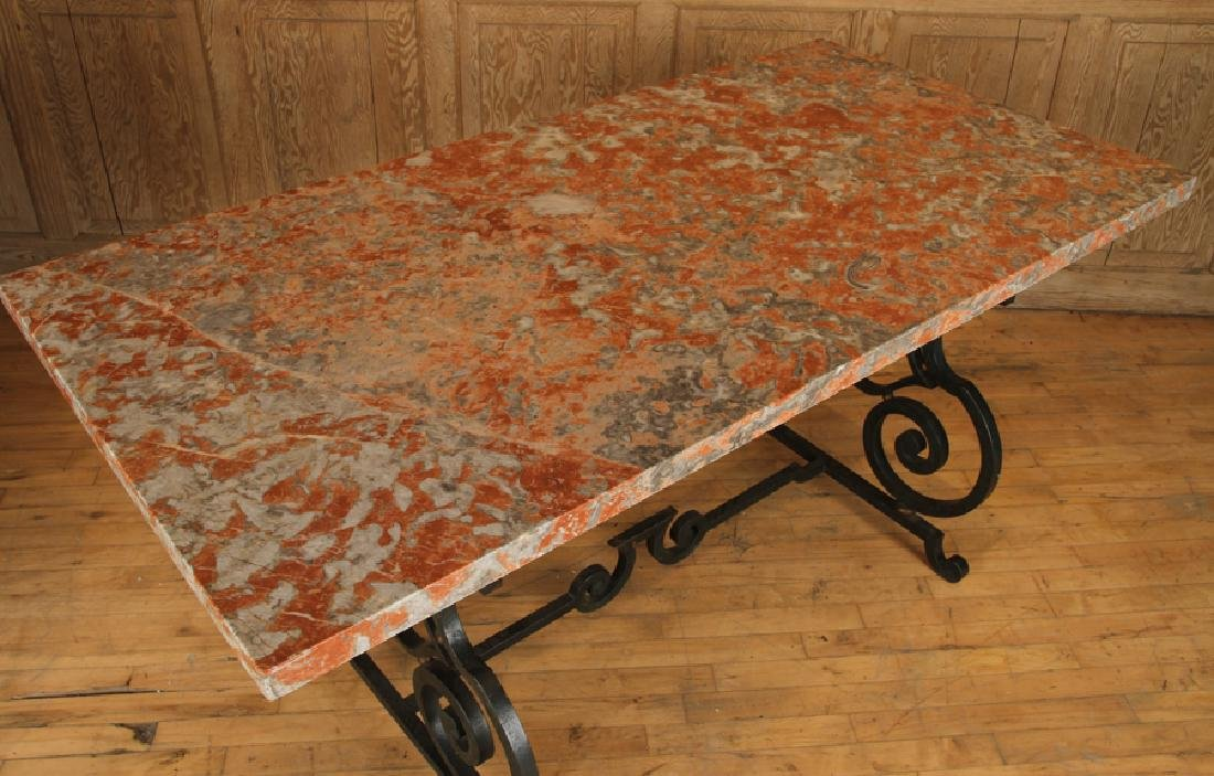 FRENCH WROUGHT IRON TABLE MARBLE TOP CIRCA 1940 - 3