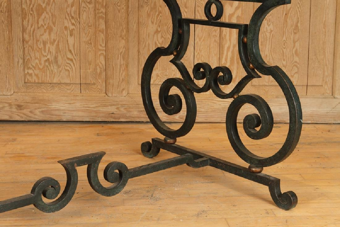 FRENCH WROUGHT IRON TABLE MARBLE TOP CIRCA 1940 - 4