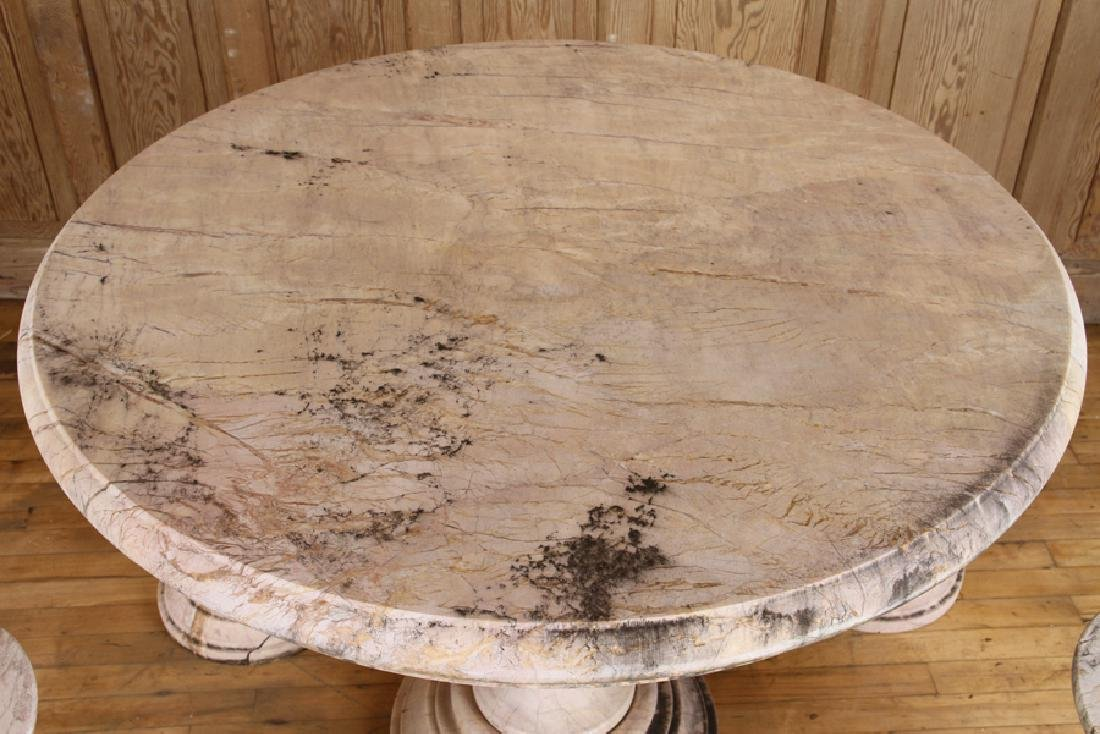 A MARBLE TOP GARDEN TABLE WITH 4 SEATS - 2