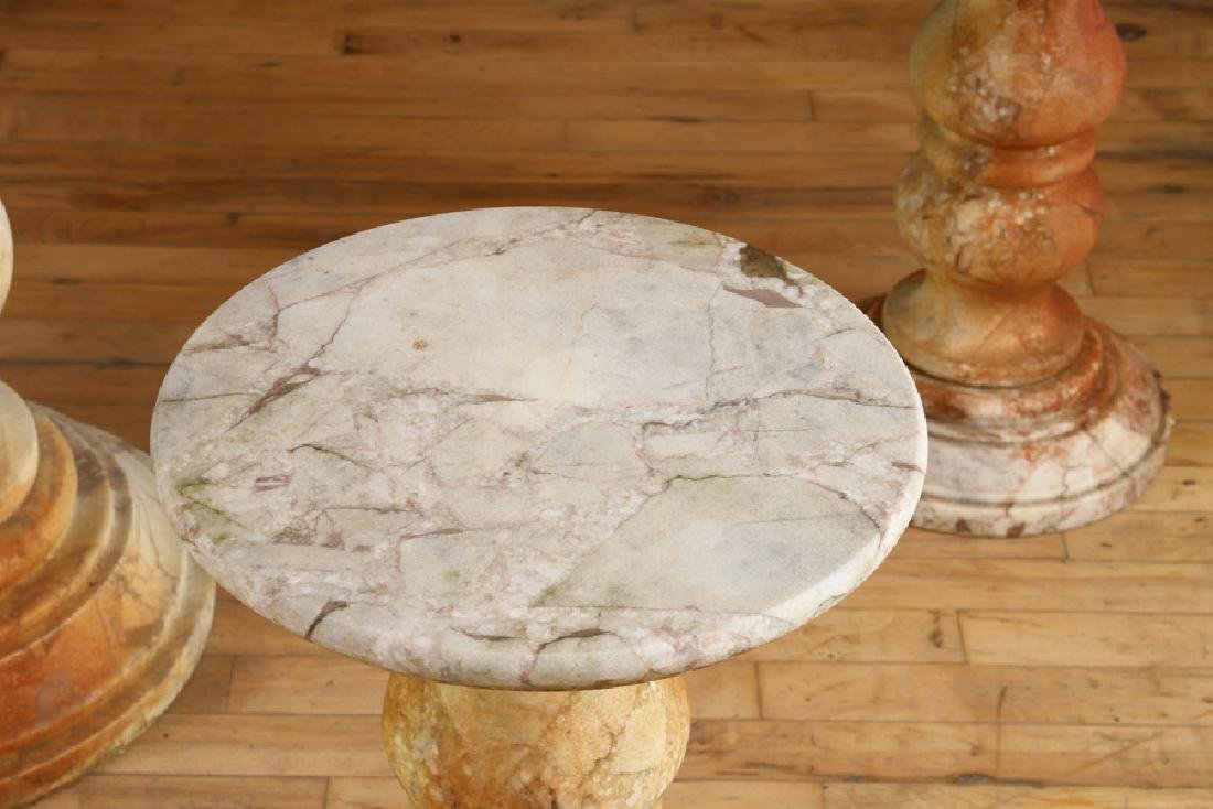 A MARBLE TOP GARDEN TABLE WITH 4 SEATS - 4