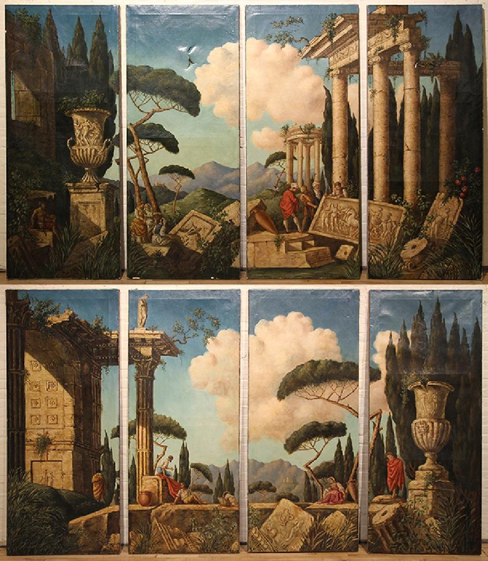 PAIR ARCHITECTURAL PAINTINGS FOUR PANELS