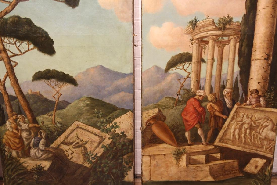 PAIR ARCHITECTURAL PAINTINGS FOUR PANELS - 4