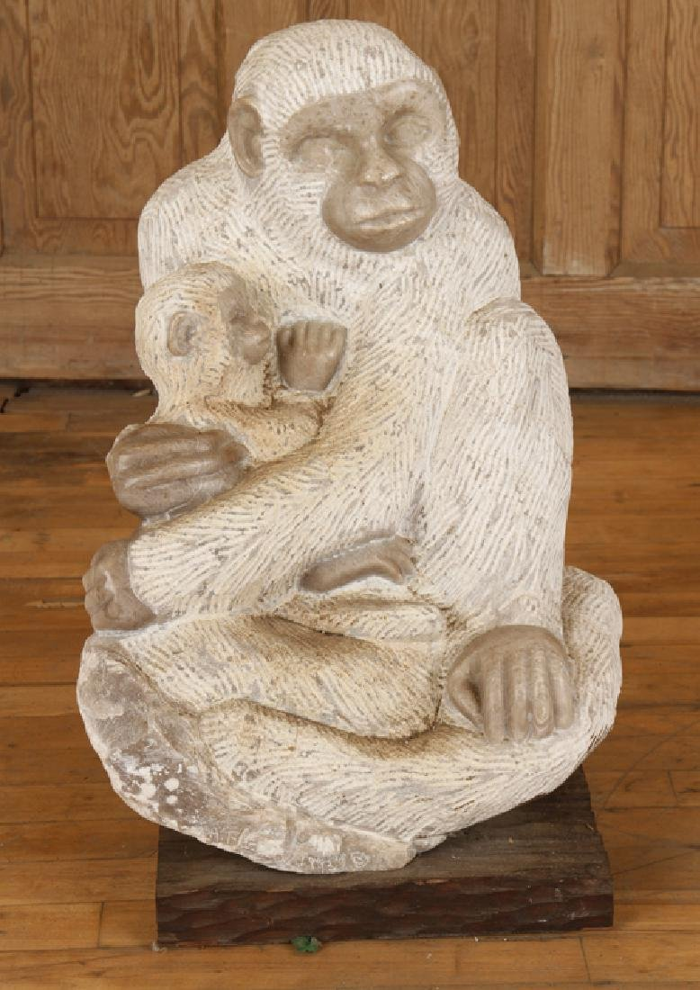 CARVED MARBLE MONKEY MOTHER AND CHILD