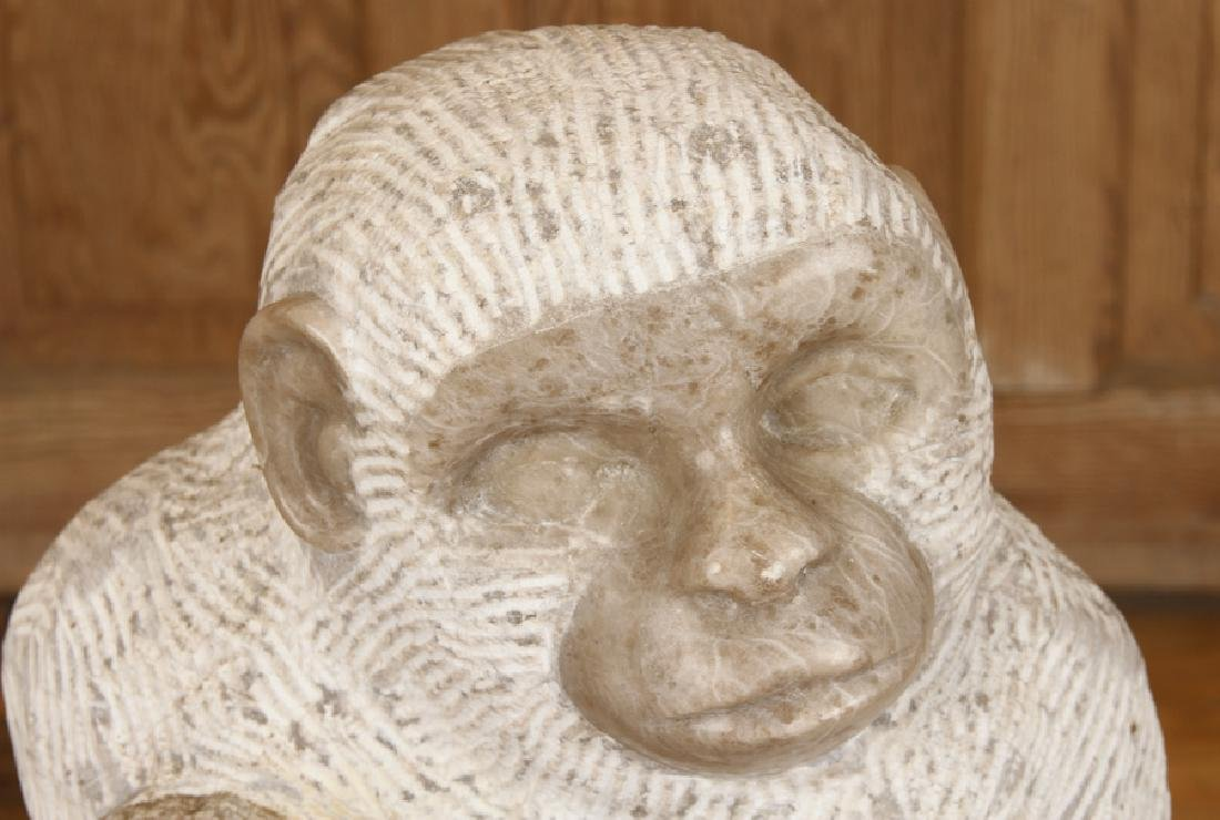 CARVED MARBLE MONKEY MOTHER AND CHILD - 2