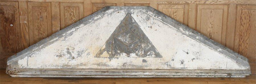 TIN TRIANGULAR PEDIMENT FROM MERIT ESTATE C.1880 - 6