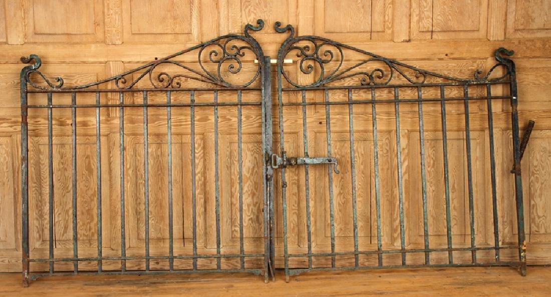 PAIR WROUGHT IRON DRIVEWAY GATES C.1900
