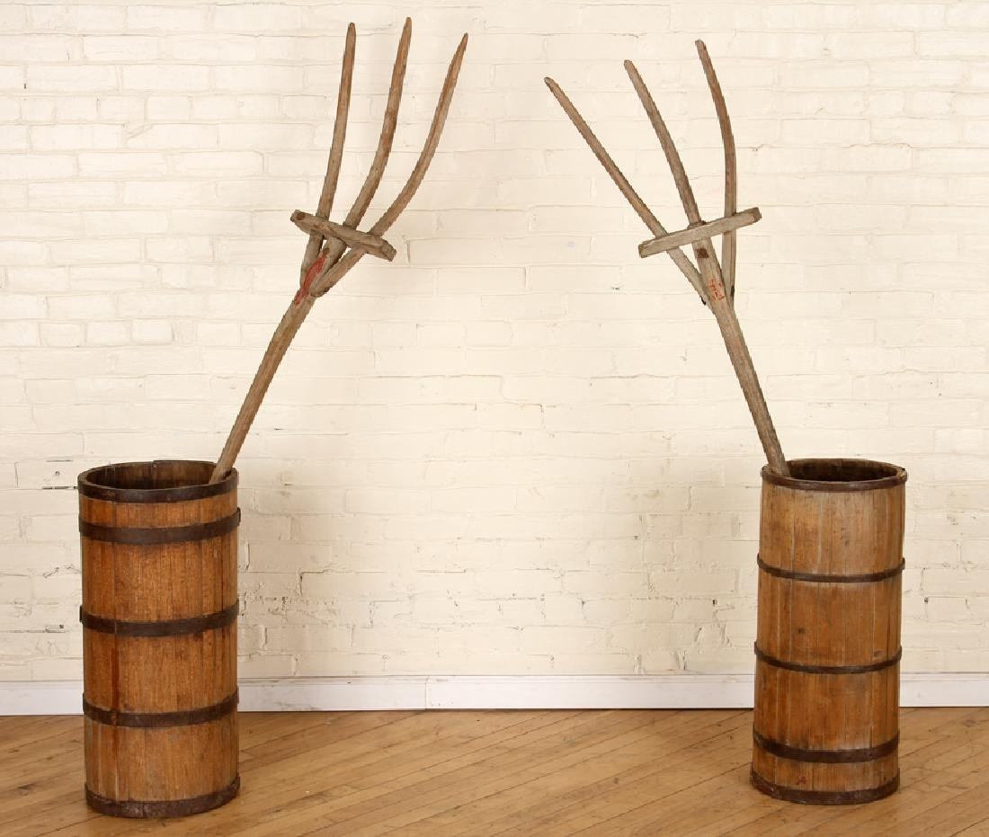 PAIR IRON BOUND WOOD BARRELS & WOOD PITCHFORKS