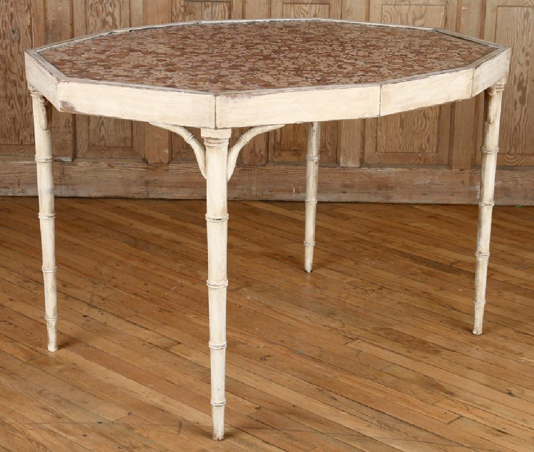 PAINTED WOOD FAUX BAMBOO STYLE TABLE