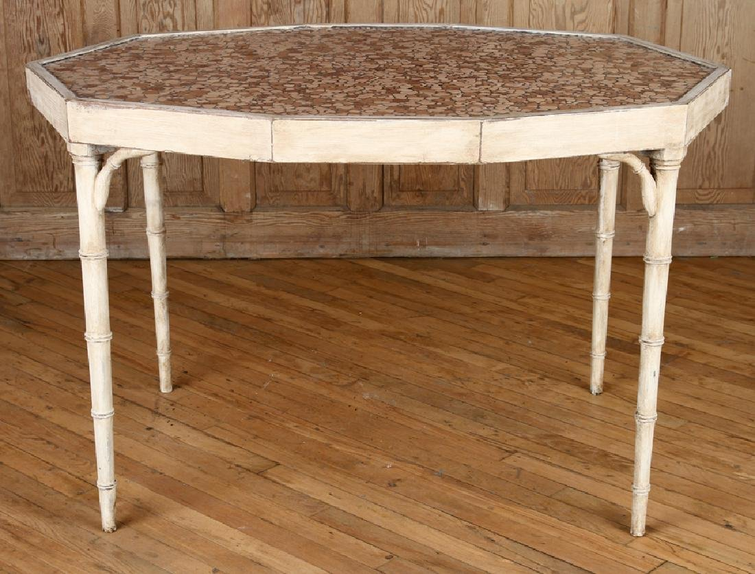 PAINTED WOOD FAUX BAMBOO STYLE TABLE - 2