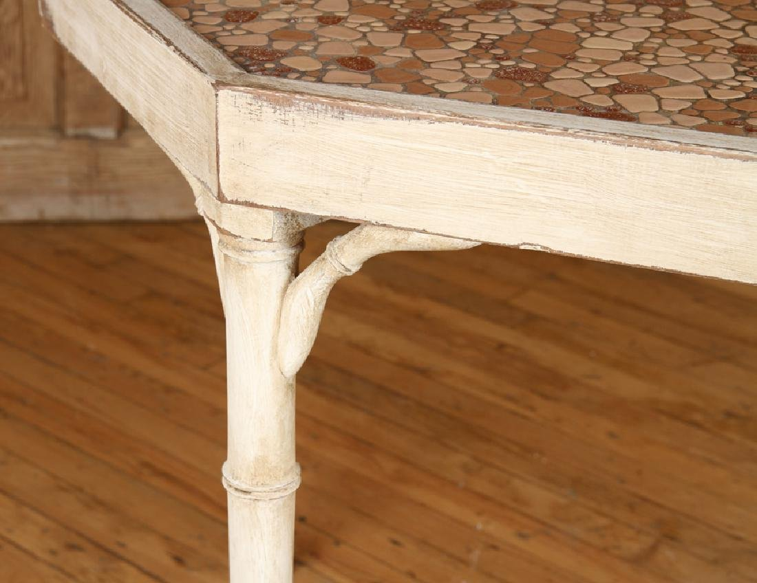 PAINTED WOOD FAUX BAMBOO STYLE TABLE - 4