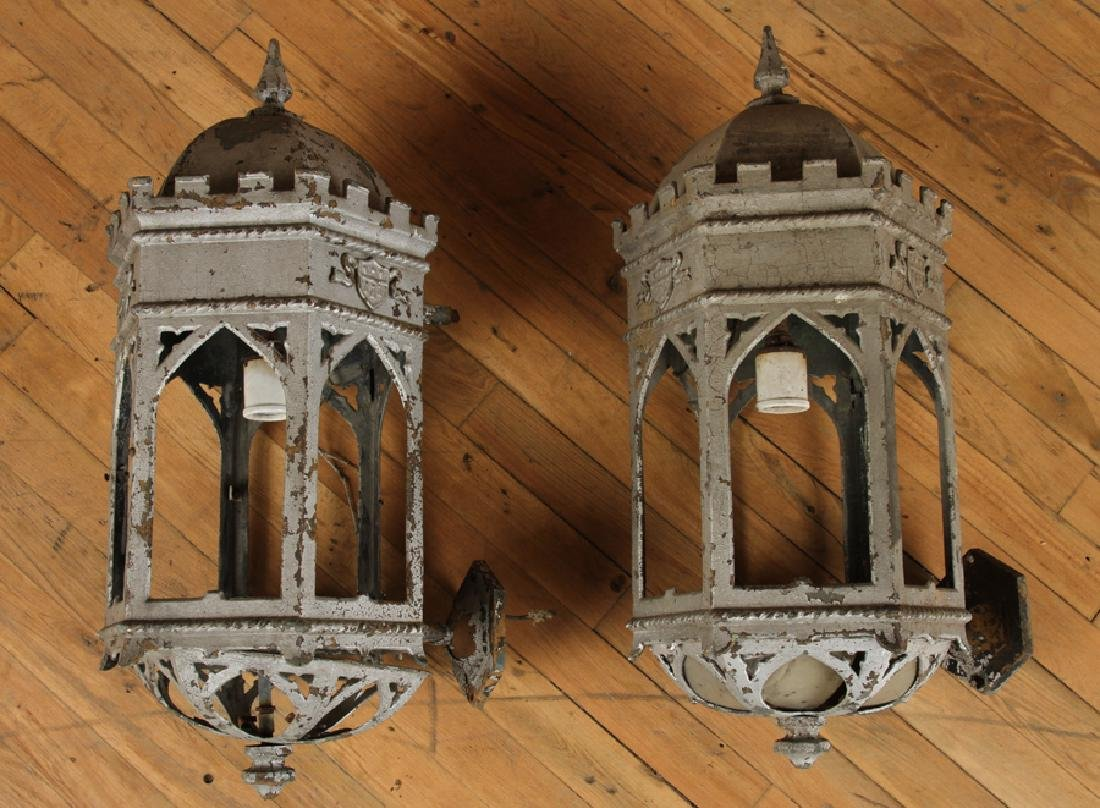 PAIR GOTHIC STYLE BRONZE WALL SCONCES CIRCA 1910