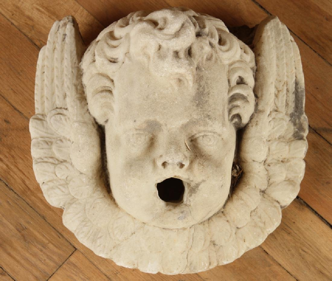 CARVED MARBLE FOUNTAIN HEAD WINGED CHERUB