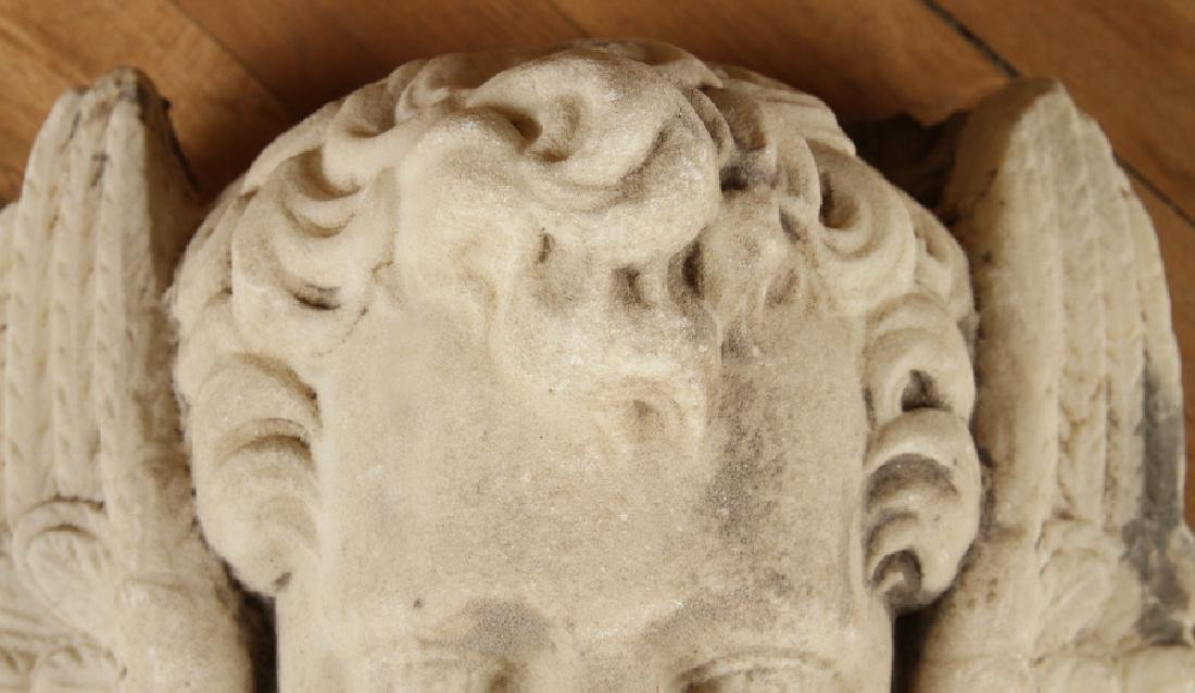 CARVED MARBLE FOUNTAIN HEAD WINGED CHERUB - 2