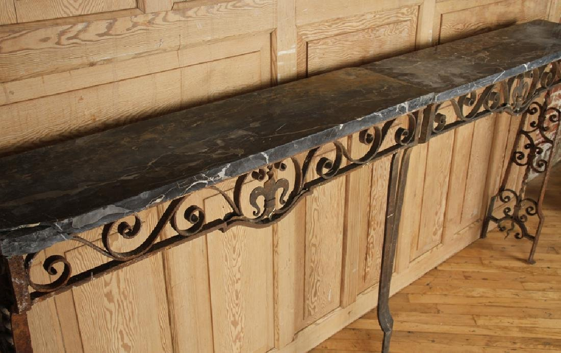 UNUSUAL WROUGHT IRON MARBLE CONSOLE TABLE C.1920 - 2