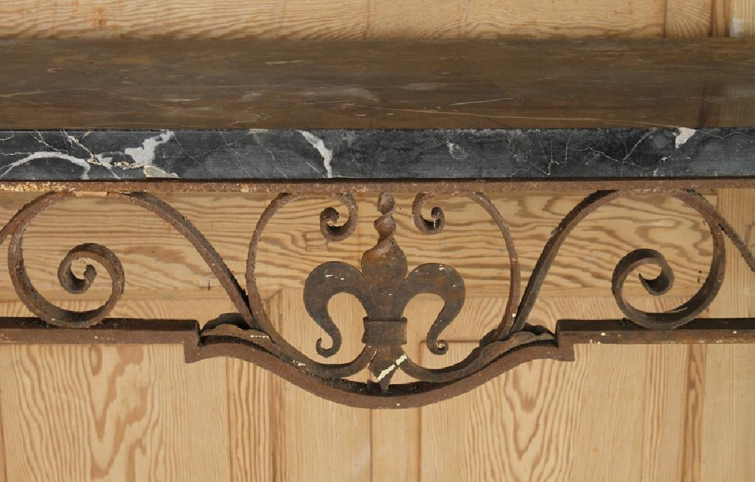 UNUSUAL WROUGHT IRON MARBLE CONSOLE TABLE C.1920 - 3