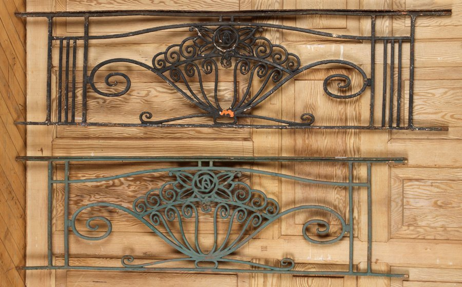 PAIR FRENCH ART DECO IRON PANELS CIRCA 1930