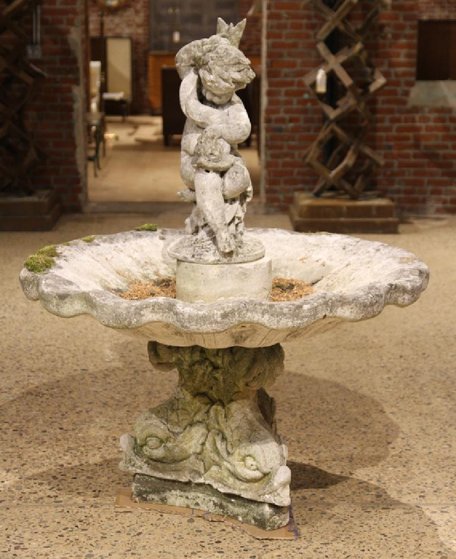 FRENCH CAST STONE FOUNTAIN SUPPORTED BY 3 DOLPHIN