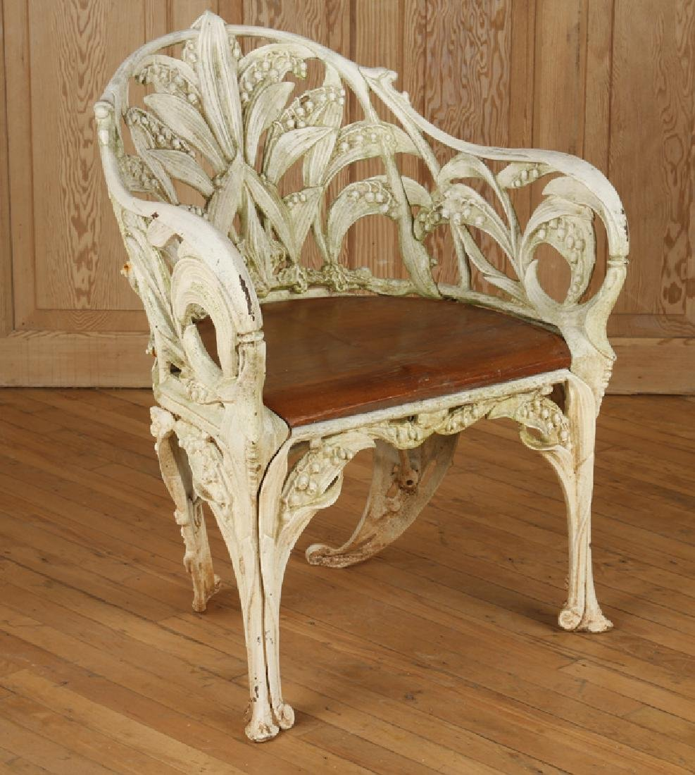 CAST IRON GARDEN CHAIR SIGNED COLEBROOKDALE 1985