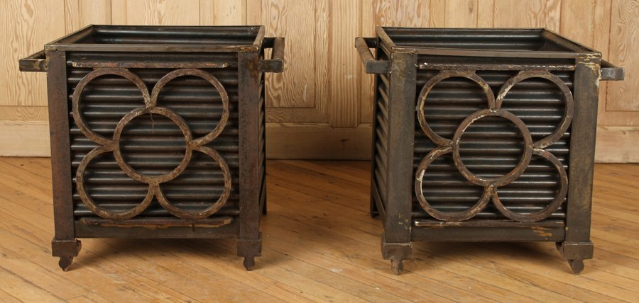 PAIR RECYCLED IRON GARDEN PLANTERS