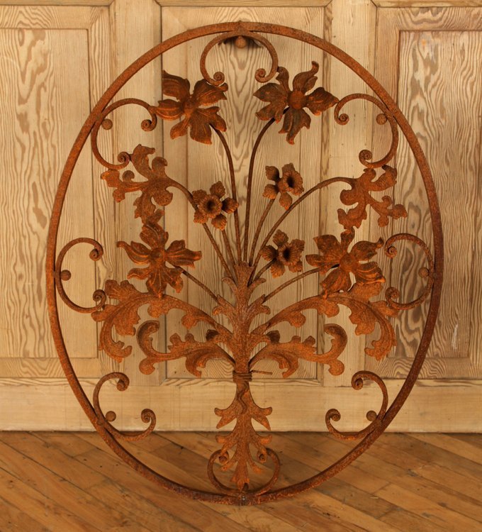 PAIR OVAL WROUGHT IRON WALL HANGINGS WITH FLOWERS - 2