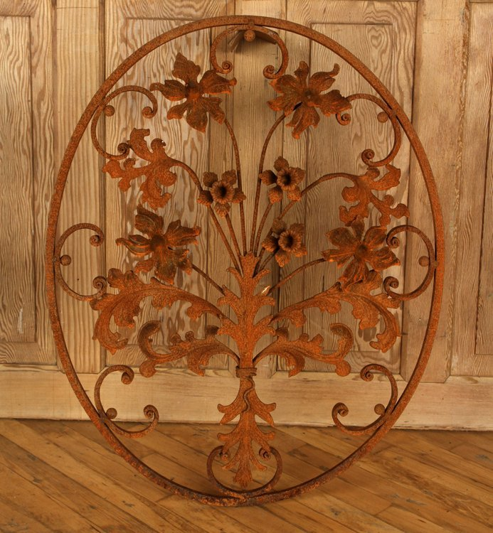 PAIR OVAL WROUGHT IRON WALL HANGINGS WITH FLOWERS - 3