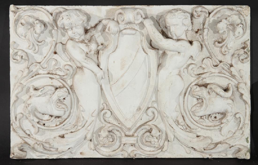 PAIR BAROQUE CAST STONE FIGURAL PANELS 1920 - 2