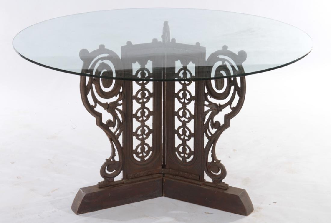 CAST IRON GARDEN TABLE WITH GLASS TOP CIRCA 1910