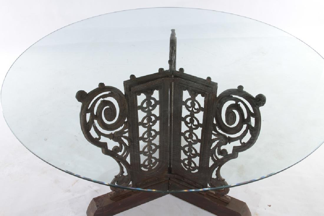 CAST IRON GARDEN TABLE WITH GLASS TOP CIRCA 1910 - 2