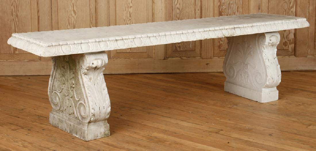 CLASSIC CARVED MARBLE GARDEN BENCH CIRCA 1900