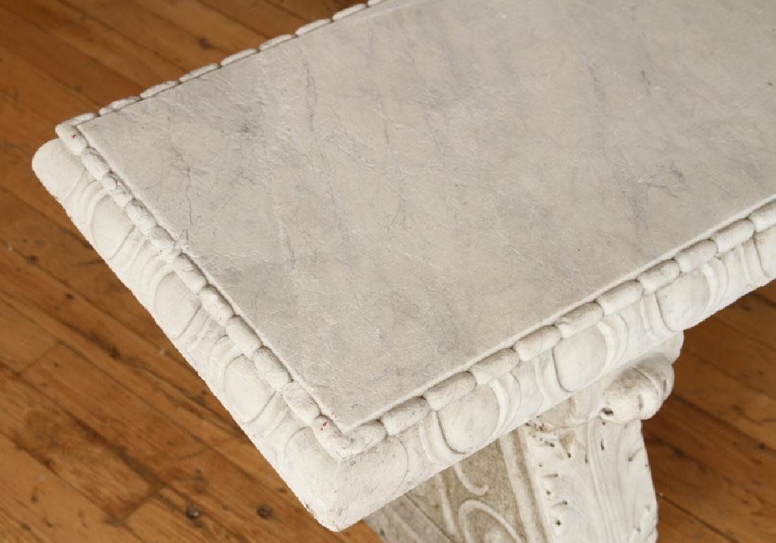 CLASSIC CARVED MARBLE GARDEN BENCH CIRCA 1900 - 3
