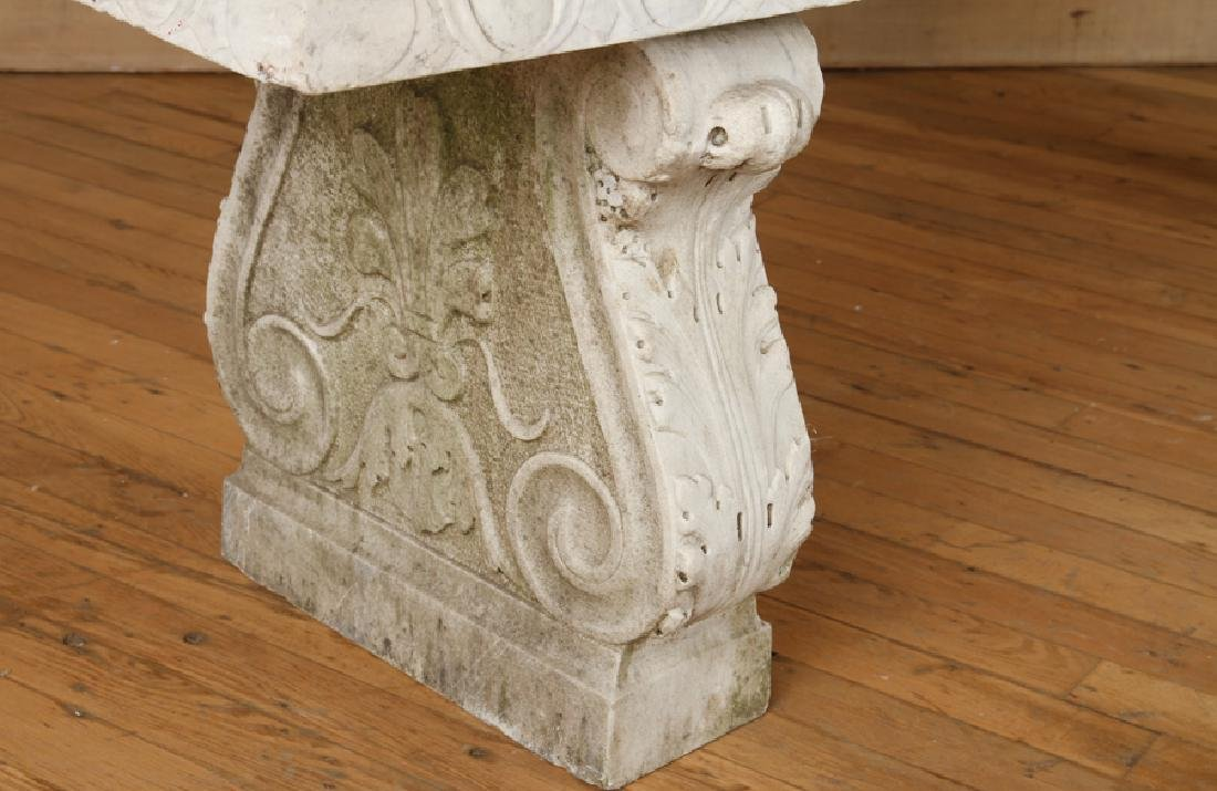 CLASSIC CARVED MARBLE GARDEN BENCH CIRCA 1900 - 4