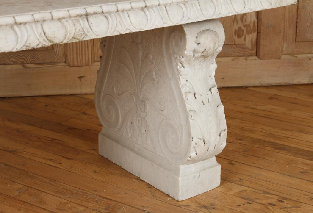 CLASSIC CARVED MARBLE GARDEN BENCH CIRCA 1900 - 5