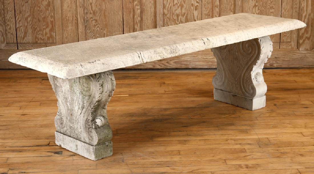 LATE 19TH CENT. CARVED MARBLE 3 PART GARDEN BENCH