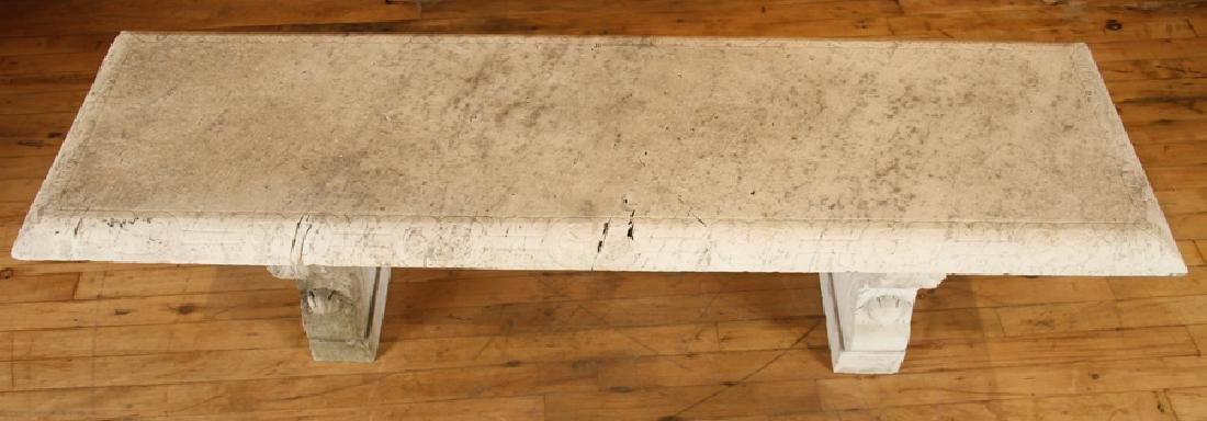 LATE 19TH CENT. CARVED MARBLE 3 PART GARDEN BENCH - 3