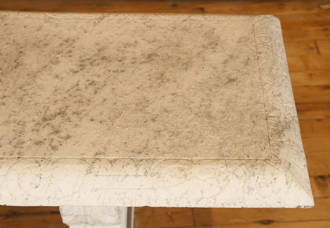 LATE 19TH CENT. CARVED MARBLE 3 PART GARDEN BENCH - 4