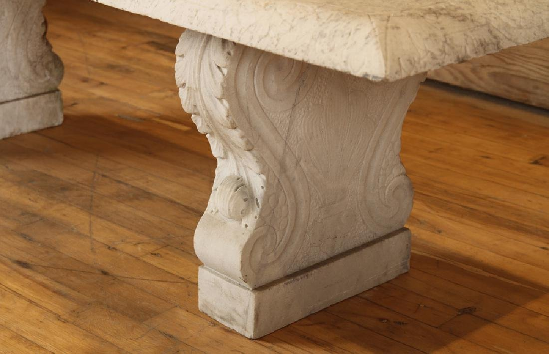 LATE 19TH CENT. CARVED MARBLE 3 PART GARDEN BENCH - 5