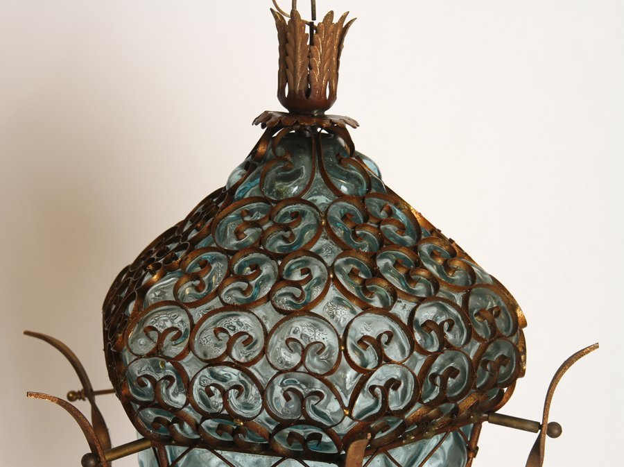 VENETIAN IRON BLOWN GLASS GARDEN LANTERN C.1940 - 2