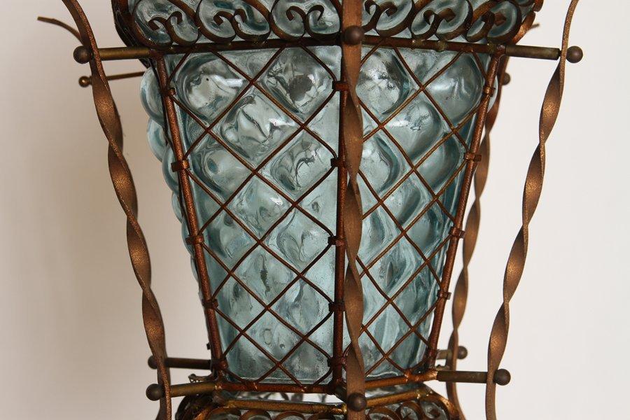 VENETIAN IRON BLOWN GLASS GARDEN LANTERN C.1940 - 3