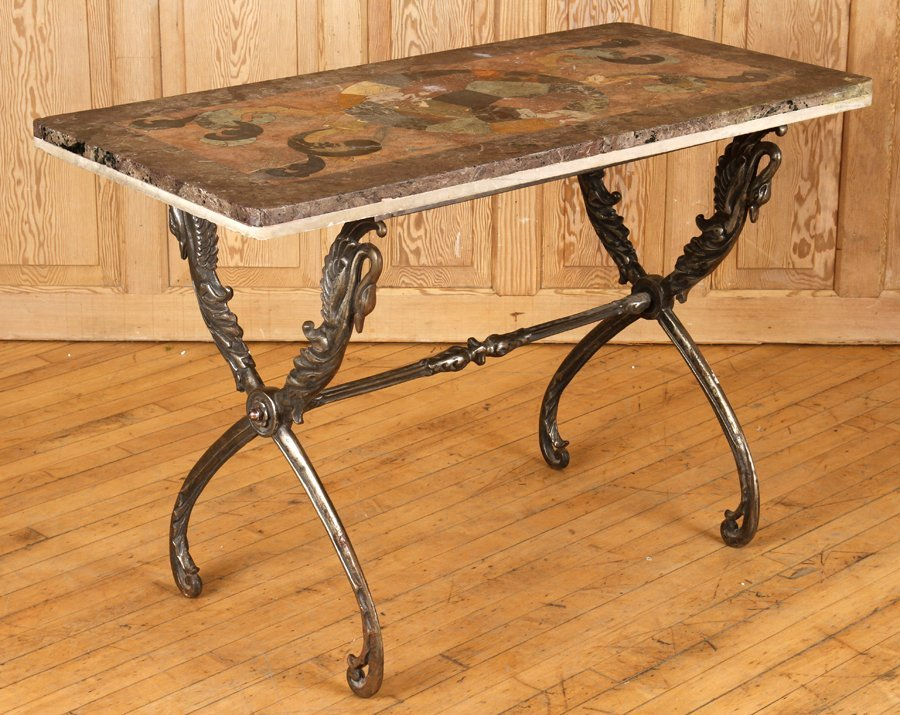 FRENCH POLISHED STEEL TABLE MOSAIC MARBLE TOP