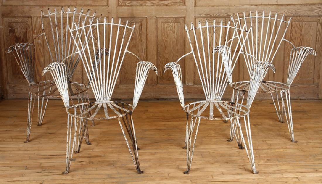 SET 4 ART DECO WROUGHT IRON GARDEN CHAIRS C.1930