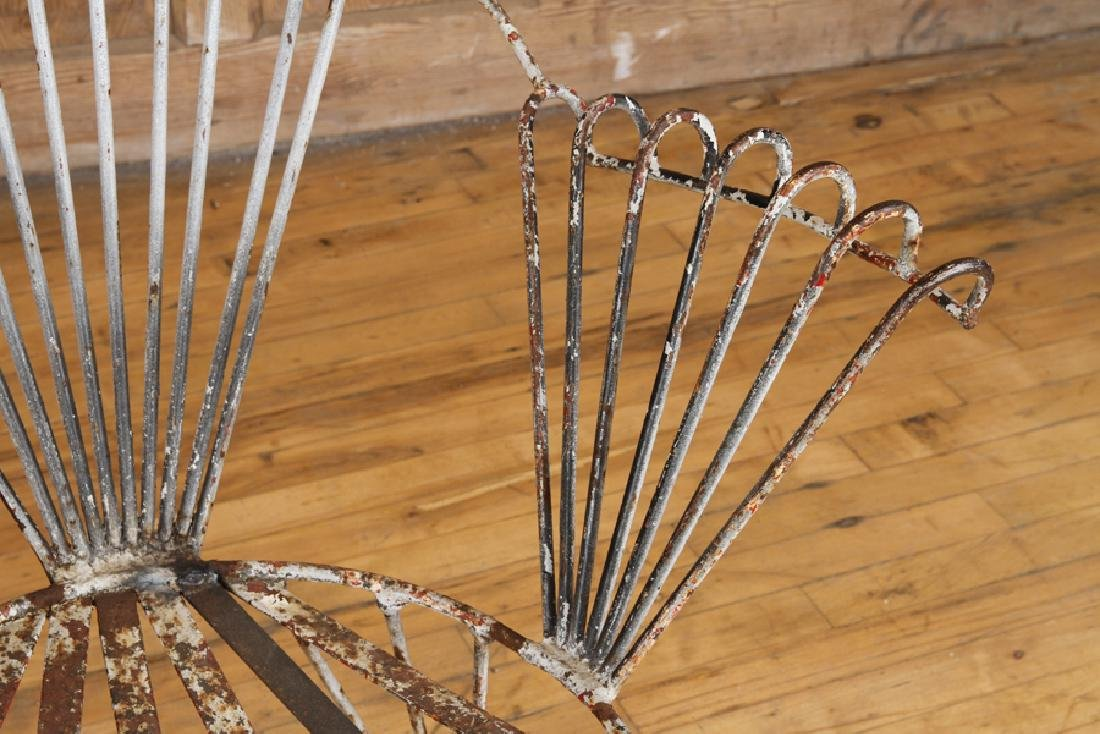 SET 4 ART DECO WROUGHT IRON GARDEN CHAIRS C.1930 - 5
