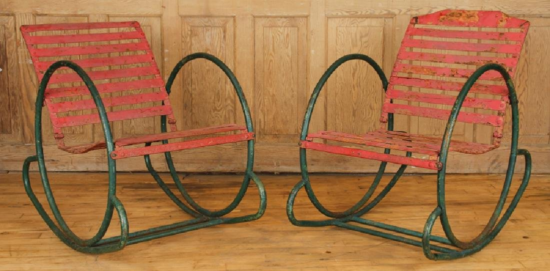 FUN PAIR OF IRON ROCKING CHAIRS CIRCA 1950
