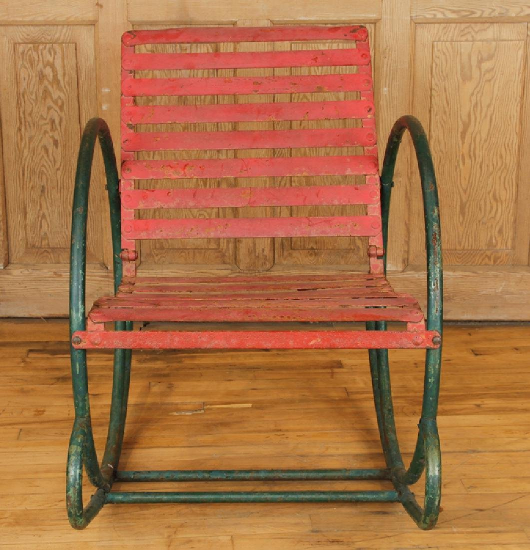 FUN PAIR OF IRON ROCKING CHAIRS CIRCA 1950 - 3